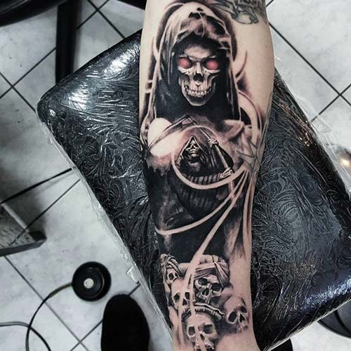 grim reaper tattoos with skulls azrail dövmeleri