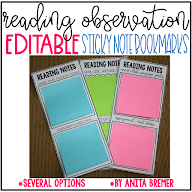 READING OBSERVATION STICKY NOTE BOOKMARKS
