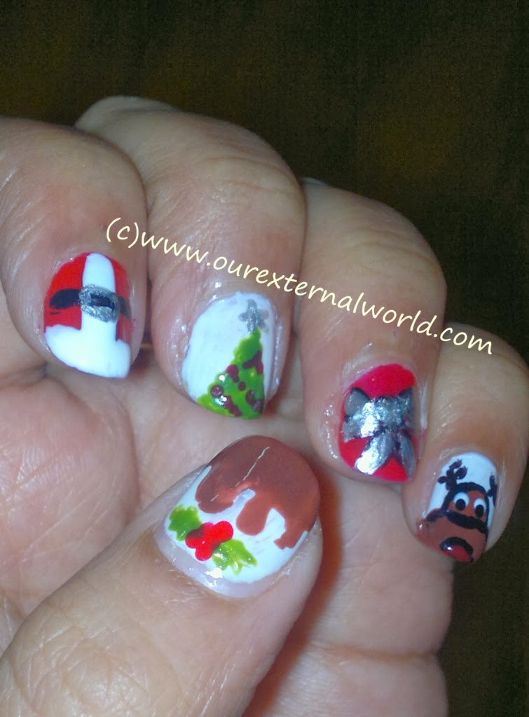 Christmas Nail Art Step By Step Tutorial For Santa Claus Reindeer
