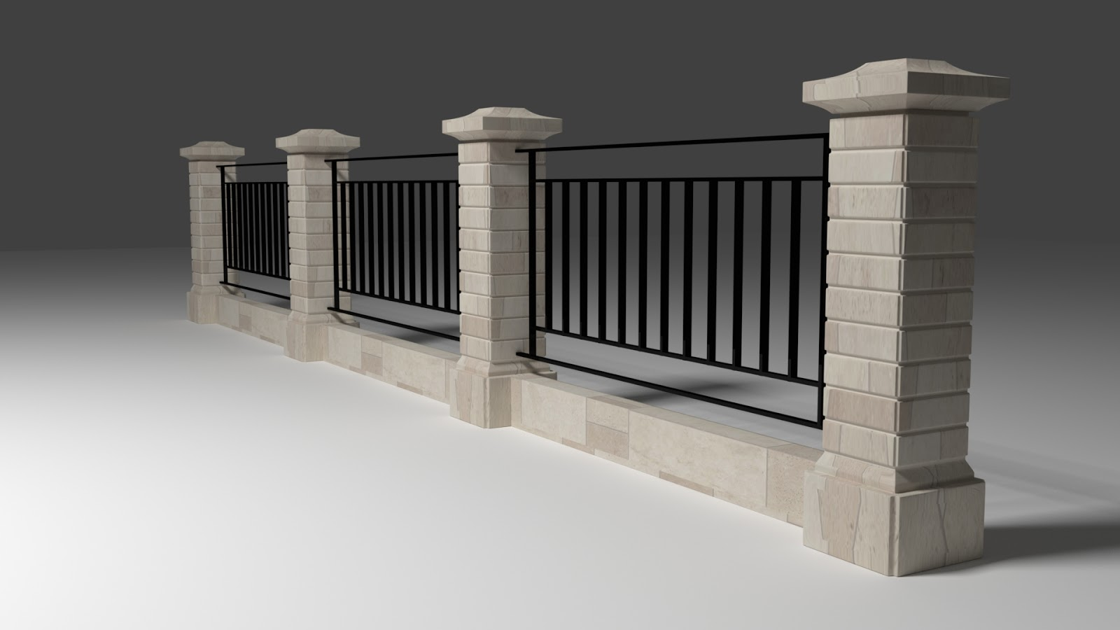 Free 3D Wall Fence .blend file