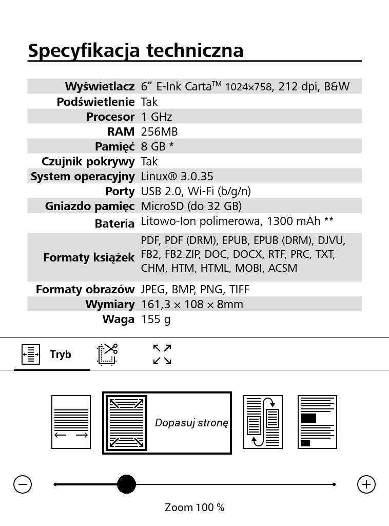 PocketBook Basic Lux 2 – fragment instrukcji w pliku PDF w trybie dopasowania do szerokości
