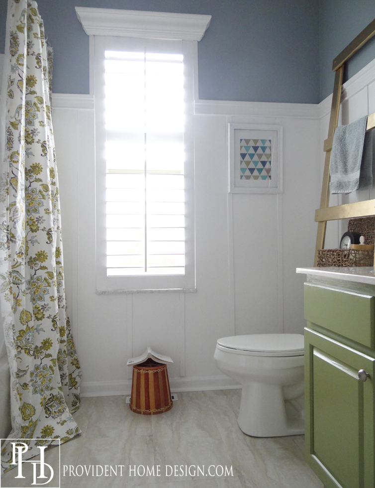 Bathroom next steps which wainscoting look thrifty for Blue and green bathroom accessories