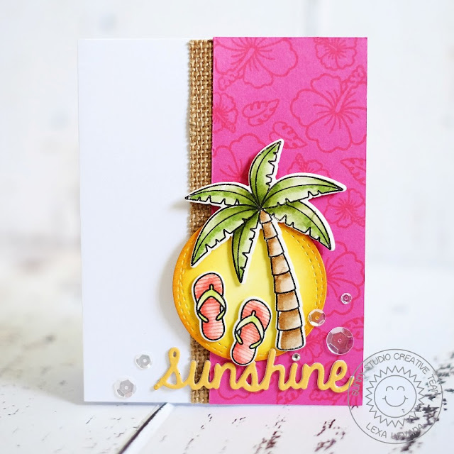 Sunny Studio Stamps: Palm Tree, Hibiscus Flower and Flip Flops card by Lexa Levana (using Tropical Paradise, Island Getaway and Sunshine Word die)