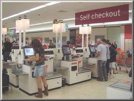 Self-check-outs laid off cashiers.