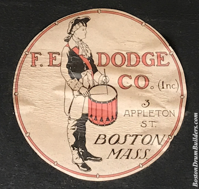 F. E. Dodge Drum Label ca. 1904 - 1907