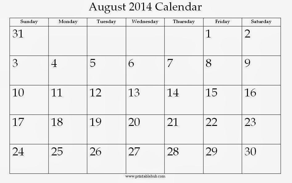 August 2014 Calendar Printable #3 - Printable Calendar 2014, Blank