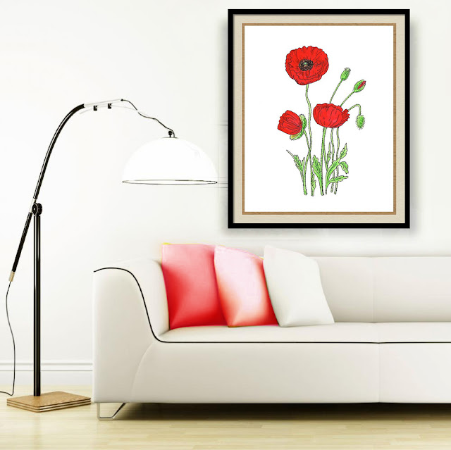 Red poppies watercolour painting framed in living room