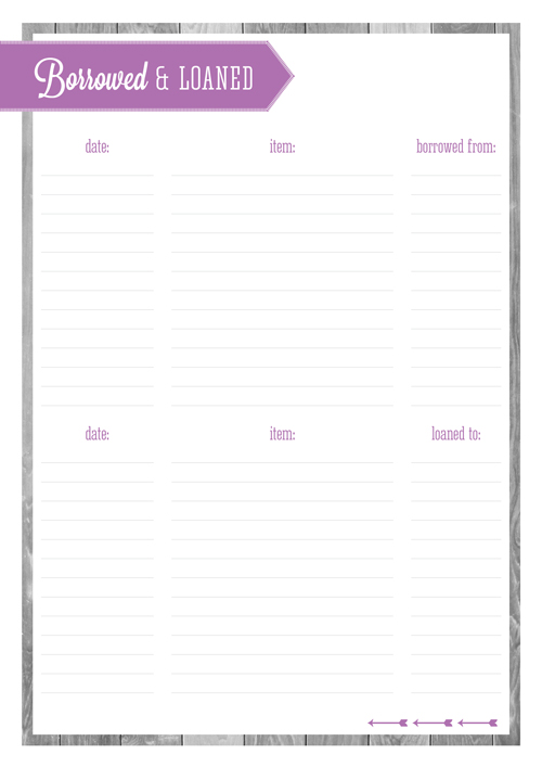 Free Printable Home Organizing Lists - Borrowed & Loaned
