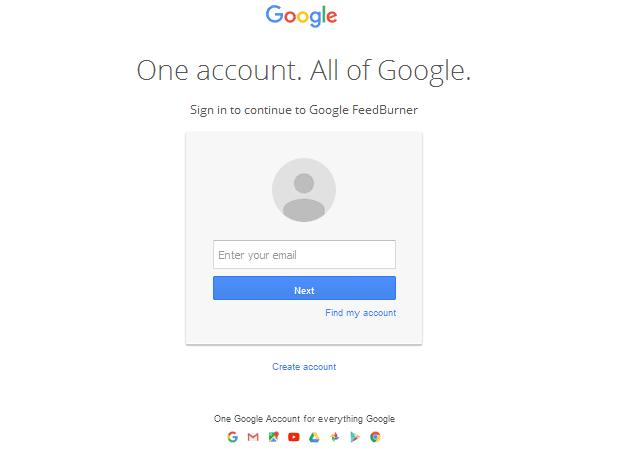 Login ke feedburner dengan akun google