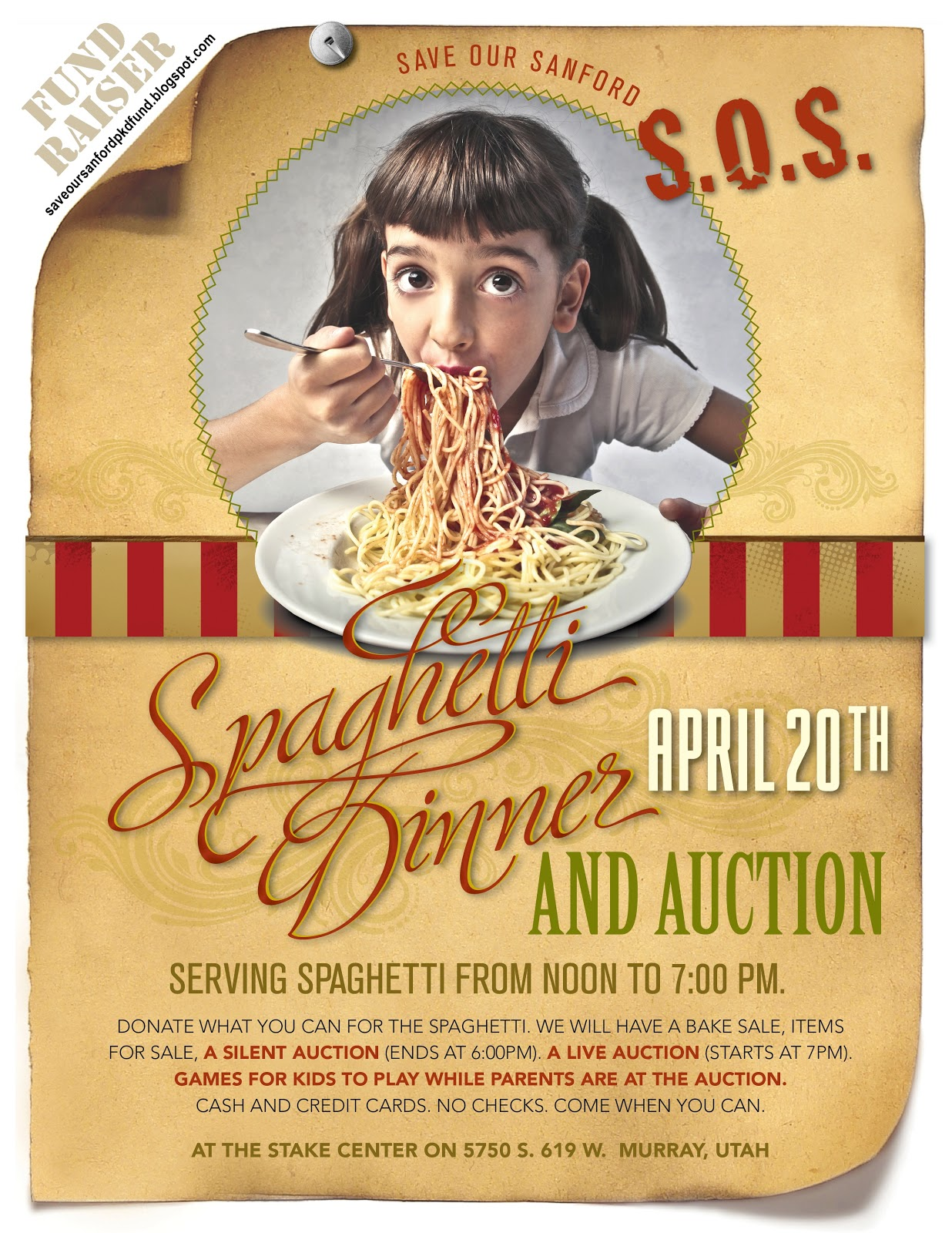 s o s save our sanford pkd fund spaghetti dinner auction flyer