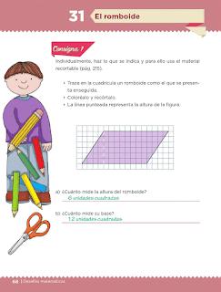 Respuestas Apoyo Primaria Desafíos Matemáticos 5to. Grado Bloque II Lección 31 El romboide