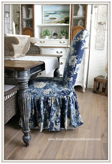 Seating-Slip Covers-Waverley-Ballad Bouquet-Parson Chairs-French Country Farmhouse Dining Room- From My Front Porch To Yours