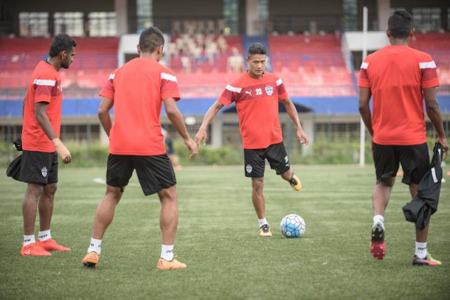 Bengaluru FC players in training at the Bangalore Football Stadium, in Bengaluru, on Tuesday.