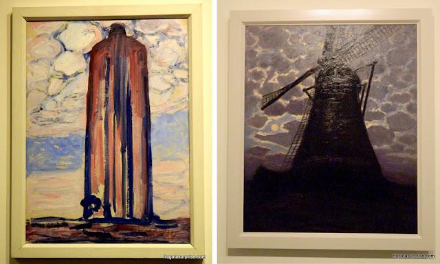 Obras de Mondrian em Brasília: Farol em Westkapelle e Moinho à noite