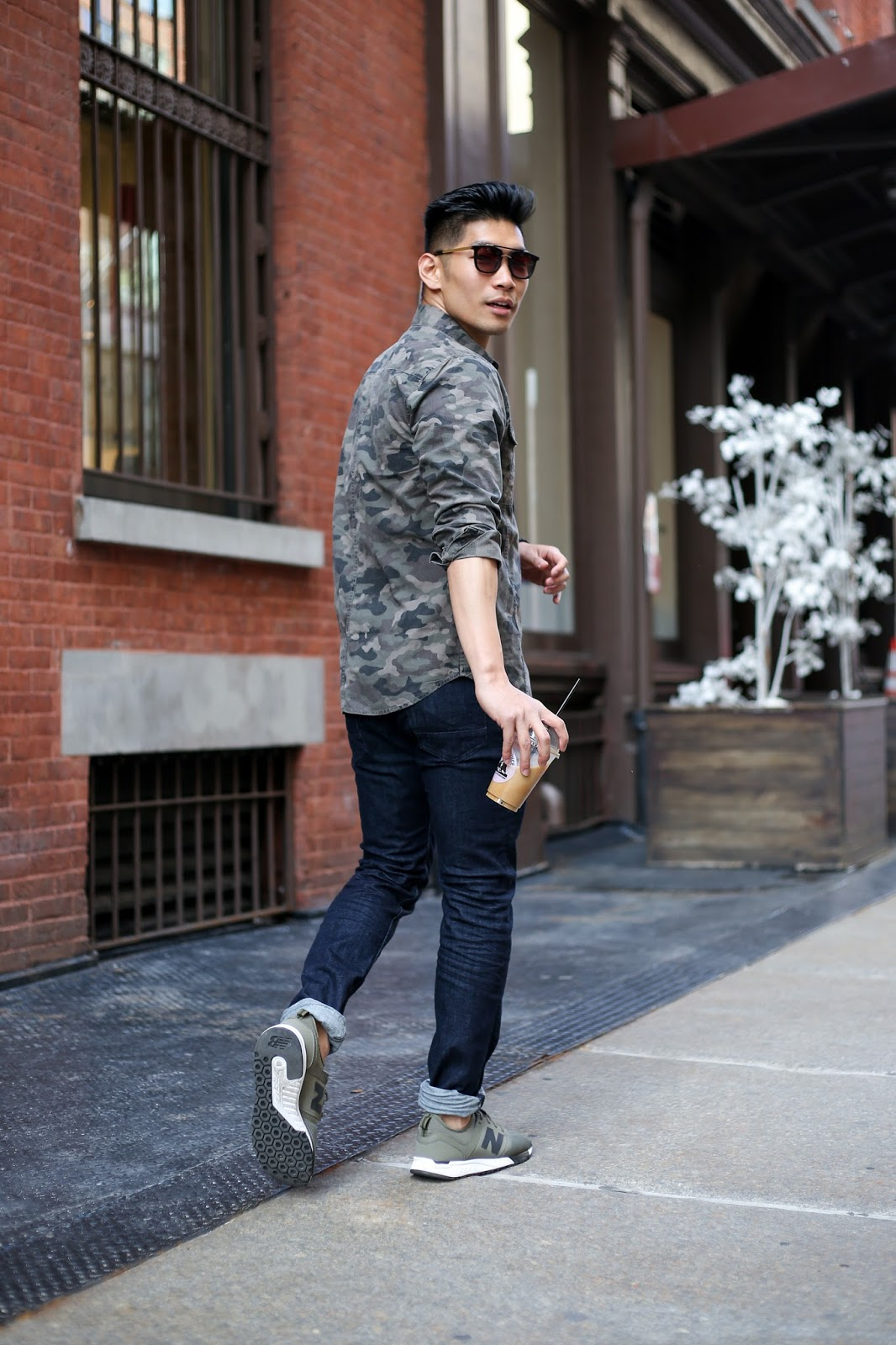 Leo Chan, Menswear Style wearing Hudson Jeans Denim Jeans and Camo Shirt