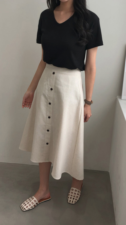Button-Front Flared Skirt