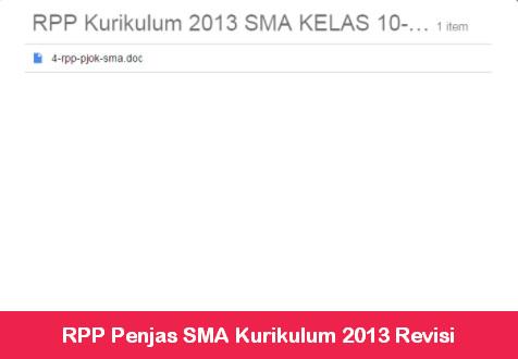 RPP Penjas SMA Kurikulum 2013 Revisi