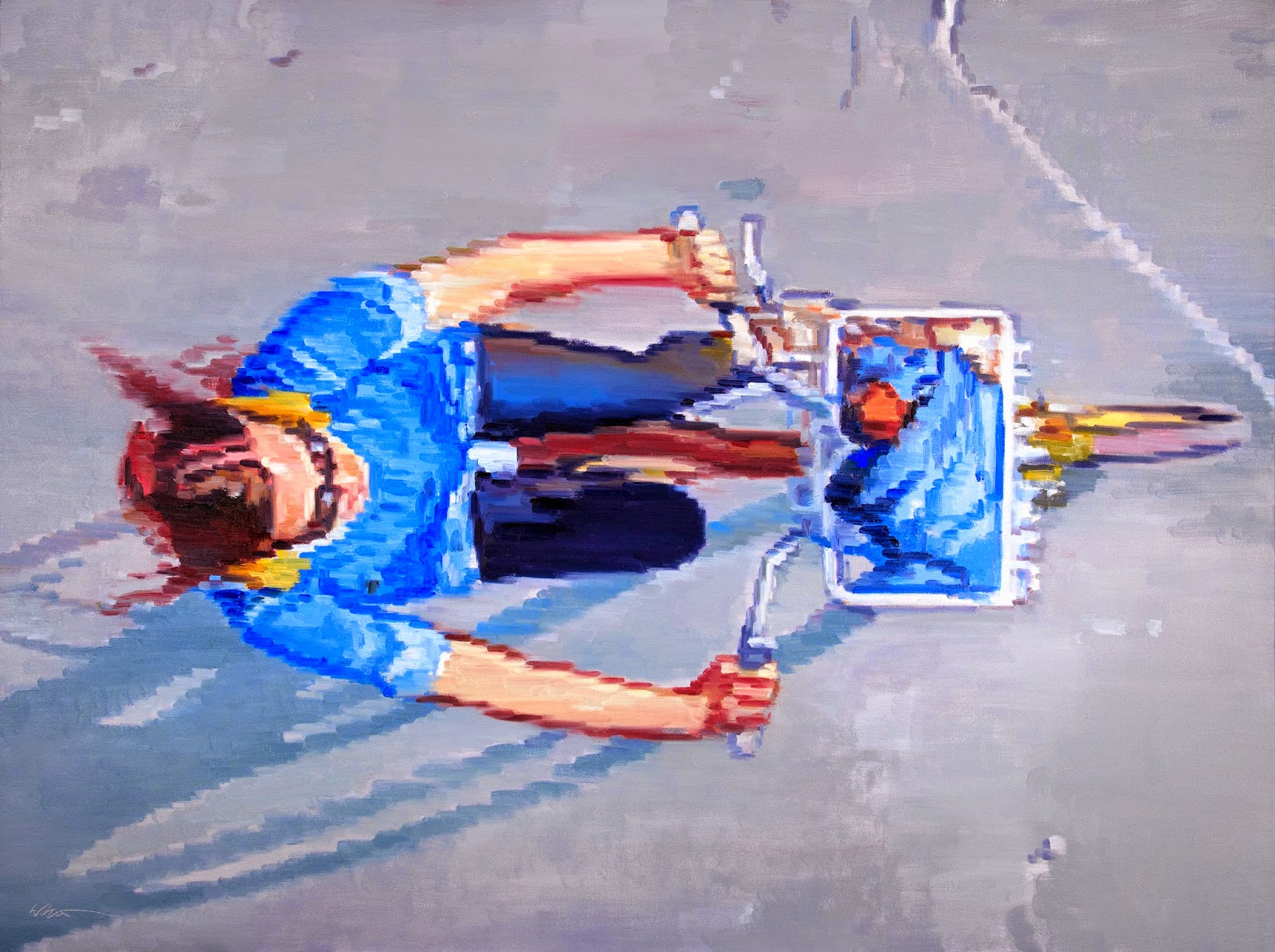 Woman On Bicycle In Santa Monica painting by Warren Keating