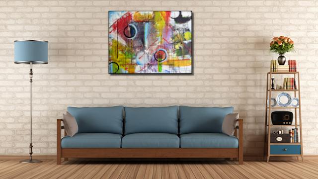 Kleurrijk vrolijk abstract schilderij van Zohra Boelhouwers 'Distorted reality'