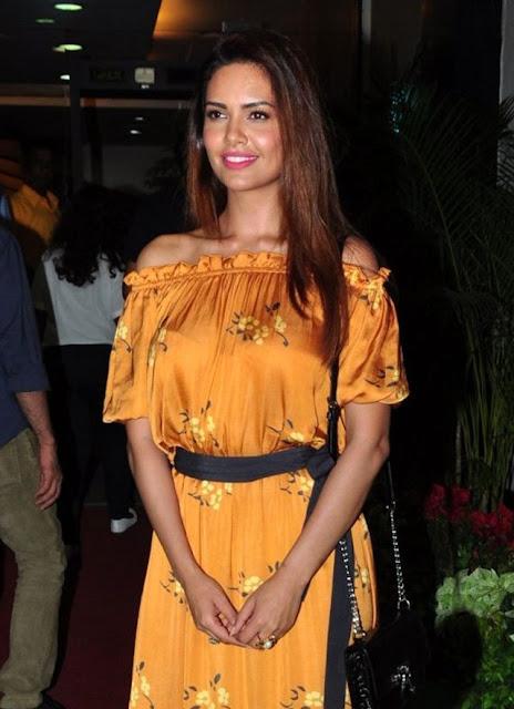 Esha Gupta in Off Shoulder Golden Yellow Dress