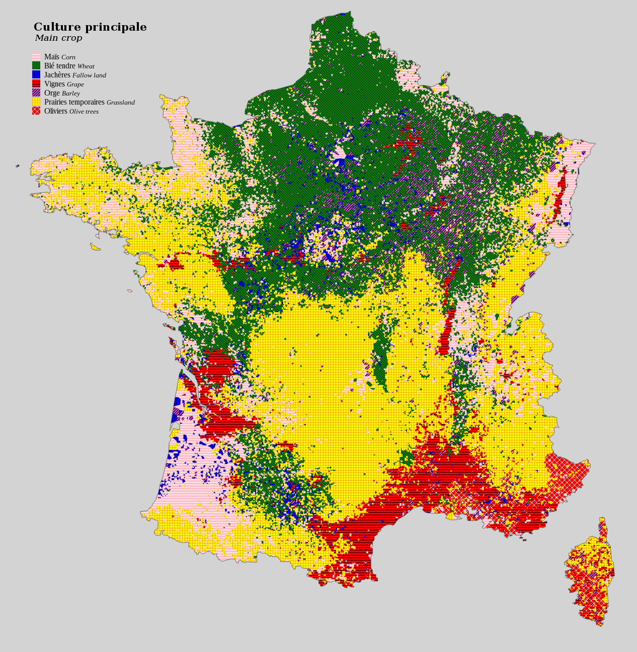 Agricultural land use in France