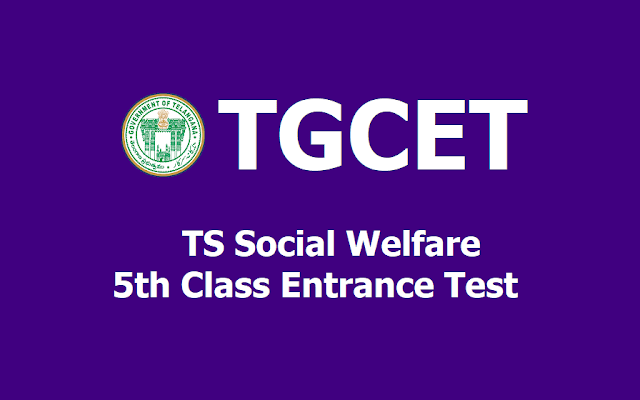 TGCET 2019 TS Social welfare 5th Class entrance test