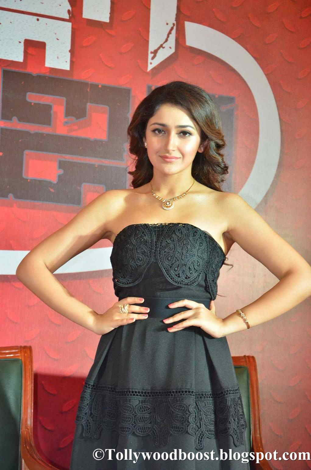 Actress Sayesha Saigal Stills At Film Press Meet In Black Gown
