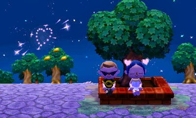 Animal Crossing: New Leaf - romantic date watching fireworks together