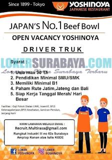 Open Cacancy Yoshinoya (Japanese Restaurant) Surabaya Terbaru Mei 2019