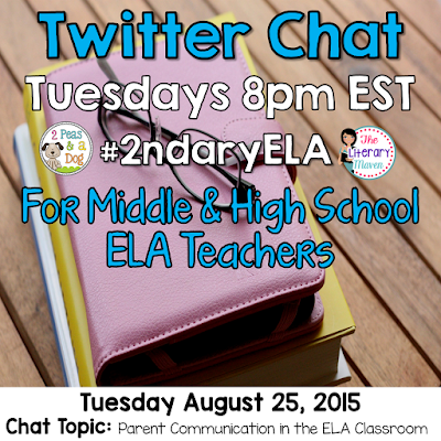 "Join secondary English Language Arts teachers Tuesday evenings at 8 pm EST on Twitter.   Brynn Allison, The Literary Maven & Kristy, 2 Peas and a Dog are hosting #2ndaryELA on Twitter every Tuesday evening from 8 - 9 PM EST.  #2ndaryELA is a weekly chat for secondary English Language Arts teachers focused on a topic.  Every Sunday, we will post the topic and questions on our blogs to allow you to prepare for the upcoming Tuesday evening's chat. Thank you to everyone who joined us last week and we hope that you will join us again.   Join secondary English Language Arts teachers Tuesday evenings at 8 pm EST on Twitter.   Brynn Allison, The Literary Maven & Kristy, 2 Peas and a Dog are hosting #2ndaryELA on Twitter every Tuesday evening from 8 - 9 PM EST.  #2ndaryELA is a weekly chat for secondary English Language Arts teachers focused on a topic.  Every Sunday, we will post the topic and questions on our blogs to allow you to prepare for the upcoming Tuesday evening's chat. Thank you to everyone who joined us last week and we hope that you will join us again.   Join secondary English Language Arts teachers Tuesday evenings at 8 pm EST on Twitter.    Brynn Allison, The Literary Maven & Kristy, 2 Peas and a Dog are hosting #2ndaryELA on Twitter every Tuesday evening from 8 - 9 PM EST.  #2ndaryELA is a weekly chat for secondary English Language Arts teachers focused on a topic.  Every Sunday, we will post the topic and questions on our blogs to allow you to prepare for the upcoming Tuesday evening's chat. Thank you to everyone who joined us last week and we hope that you will join us again.   Join secondary English Language Arts teachers Tuesday evenings at 8 pm EST on Twitter.   On Tuesday, August 4, our #2ndaryELA chat will focus on ELA classroom organization.  The Format: 8:00 Intros – What and where do you teach? Include a link to your blog if you have one. #2ndaryELA 8:05 Q1: How do you keep your desk organized? #2ndaryELA  8:15 Q2: Where/how do you keep student supplies? #2ndaryELA 8:25 Q3: How do you manage your paperwork (grading, work to be returned, etc.)? #2ndaryELA 8:35 Q4: How do you manage student work (writing folders, portfolios, etc.)? #2ndaryELA 8:45 Q5: How do you keep books organized (textbooks, novel sets, classroom library, etc) #2ndaryELA  The Directions: 1. Log into Twitter on Tuesday from 8-9 PM EST. 2. Search for tweets with the hashtag #2ndaryELA in the search bar.  Make sure to click ""All tweets."" 3. Introductions are for the first 5 minutes. 4. Starting at 8:05 (@literarymaven or @2peasandadog) will post questions every 10 minutes using the format Q1, Q2, Q3, etc. and the hashtag #2ndaryELA. 5.  Respond to questions using the format A1, A2, A3, etc. with #2ndaryELA. 6.  Follow any teachers responding and who are also using #2ndaryELA. 7.  Like and respond to other teachers' tweets.  You can schedule your responses to the questions ahead of time using a scheduler like TweetDeck or HootSuite (but don't forget to use A1, A2, etc. and #2ndaryELA). Links are encouraged, so be sure to use a link shortener like tinyurl, bitly, goo.gl or ow.ly  Just visit one of those links and paste your long link to shorten it for Twitter. Using images is also encouraged when relevant.  New to chats? Here are the rules: 1. Stay on topic & stay positive! 2. Please do not post or promote paid products unless specifically asked.  3. If you arrive late, try to look through other posts before beginning. 4. Feel free to just read, like, and/or retweet. 5. Always use our hashtag #2ndaryELA, including in your replies to others. 6. Make sure your twitter feed is set to public. (Also keep in mind that Twitter is completely public – that means students, parents, and administrators can and will read what you tweet.)   Be sure to spread the word to any teacher friends who might be interested in joining us as well. We look forward to chatting with you Tuesday evening!  On Tuesday, August 11, our #2ndaryELA chat will focus on managaing student behavior in the ELA classroom.  The Format: 8:00 Intros – What and where do you teach? Include a link to your blog if you have one. #2ndaryELA 8:05 Q1: What are your top three routines/procedures that keep your class running smoothly? #2ndaryELA  8:15 Q2: What are problematic student behaviors in your classroom? What do you struggle with most? #2ndaryELA 8:25 Q3: What are successful classroom management strategies in your classroom/school? #2ndaryELA 8:35 Q4: How do you and your colleagues support each other? How does your admin support you #2ndaryELA 8:45 Q5: Share a classroom management resource that you find invaluable (book, article, blog post, type of technology, reward system, etc.). #2ndaryELA  The Directions: 1. Log into Twitter on Tuesday from 8-9 PM EST. 2. Search for tweets with the hashtag #2ndaryELA in the search bar.  Make sure to click ""All tweets."" 3. Introductions are for the first 5 minutes. 4. Starting at 8:05 (@literarymaven or @2peasandadog) will post questions every 10 minutes using the format Q1, Q2, Q3, etc. and the hashtag #2ndaryELA. 5.  Respond to questions using the format A1, A2, A3, etc. with #2ndaryELA. 6.  Follow any teachers responding and who are also using #2ndaryELA. 7.  Like and respond to other teachers' tweets.  You can schedule your responses to the questions ahead of time using a scheduler like TweetDeck or HootSuite (but don't forget to use A1, A2, etc. and #2ndaryELA). Links are encouraged, so be sure to use a link shortener like tinyurl, bitly, goo.gl or ow.ly  Just visit one of those links and paste your long link to shorten it for Twitter. Using images is also encouraged when relevant.  New to chats? Here are the rules: 1. Stay on topic & stay positive! 2. Please do not post or promote paid products unless specifically asked.  3. If you arrive late, try to look through other posts before beginning. 4. Feel free to just read, like, and/or retweet. 5. Always use our hashtag #2ndaryELA, including in your replies to others. 6. Make sure your twitter feed is set to public. (Also keep in mind that Twitter is completely public – that means students, parents, and administrators can and will read what you tweet.)   Be sure to spread the word to any teacher friends who might be interested in joining us as well. We look forward to chatting with you Tuesday evening!  On Tuesday, August 18, our #2ndaryELA chat will focus on the start of the school year in the ELA classroom.  The Format: 8:00 Intros – What and where do you teach? Include a link to your blog if you have one. #2ndaryELA 8:05 Q1: What student information do you collect at the start of the year? How does it help inform your instruction? #2ndaryELA  8:15 Q2: What information do you include in your syllabus? (Share a sample of your syllabus if you would like. Upload it to Google Drive and then share the link) #2ndaryELA 8:25 Q3: What supplies do students need for your class? #2ndaryELA 8:35 Q4: What activities do you do with students the first day? The first week? Why? #2ndaryELA 8:45 Q5: What are your must teach routines/procedures the first day/week? #2ndaryELA  The Directions: 1. Log into Twitter on Tuesday from 8-9 PM EST. 2. Search for tweets with the hashtag #2ndaryELA in the search bar.  Make sure to click ""All tweets."" 3. Introductions are for the first 5 minutes. 4. Starting at 8:05 (@literarymaven or @2peasandadog) will post questions every 10 minutes using the format Q1, Q2, Q3, etc. and the hashtag #2ndaryELA. 5.  Respond to questions using the format A1, A2, A3, etc. with #2ndaryELA. 6.  Follow any teachers responding and who are also using #2ndaryELA. 7.  Like and respond to other teachers' tweets.  You can schedule your responses to the questions ahead of time using a scheduler like TweetDeck or HootSuite (but don't forget to use A1, A2, etc. and #2ndaryELA). Links are encouraged, so be sure to use a link shortener like tinyurl, bitly, goo.gl or ow.ly  Just visit one of those links and paste your long link to shorten it for Twitter. Using images is also encouraged when relevant.  New to chats? Here are the rules: 1. Stay on topic & stay positive! 2. Please do not post or promote paid products unless specifically asked.  3. If you arrive late, try to look through other posts before beginning. 4. Feel free to just read, like, and/or retweet. 5. Always use our hashtag #2ndaryELA, including in your replies to others. 6. Make sure your twitter feed is set to public. (Also keep in mind that Twitter is completely public – that means students, parents, and administrators can and will read what you tweet.)   Be sure to spread the word to any teacher friends who might be interested in joining us as well. We look forward to chatting with you Tuesday evening!"