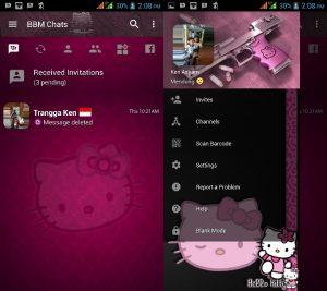 BBM MOD Tema Hello Kitty Dark v3.3.0.16 APK Versi Terbaru