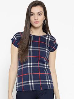 U&F Casual Half Sleeve Checkered Women's Top
