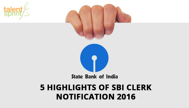 SBI Clerk Notification 2016