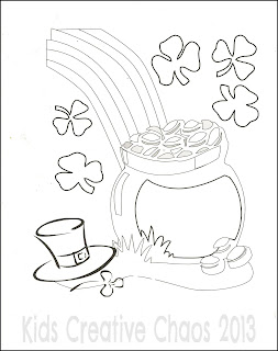 Pot of Gold Coloring Sheet Saint Patricks Day St.