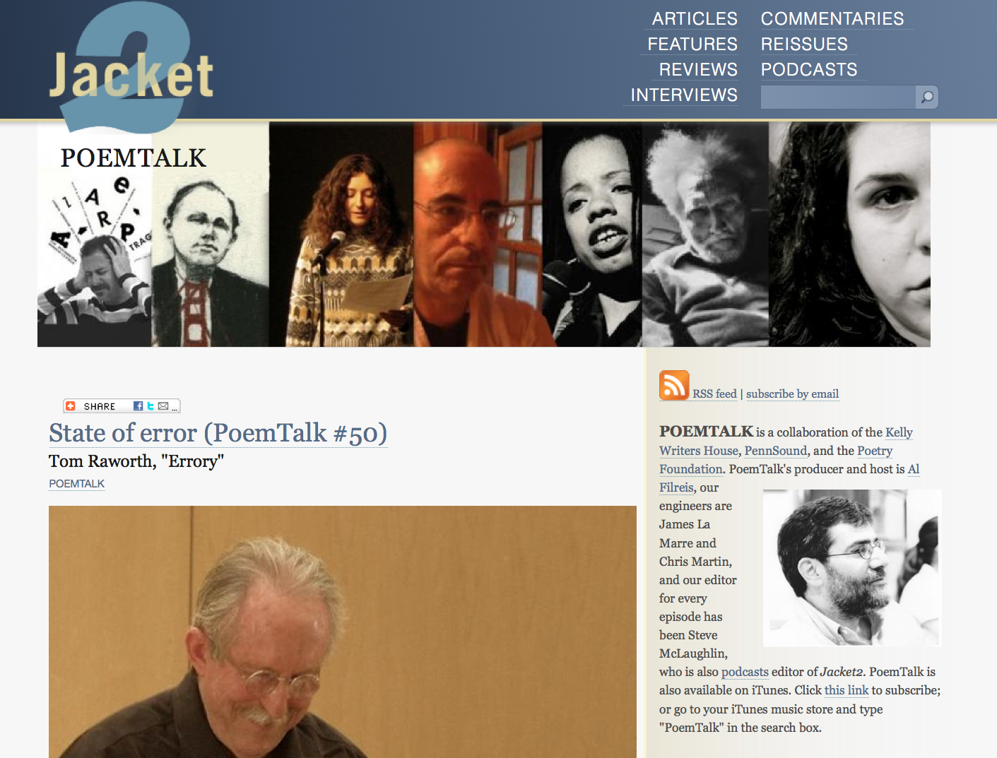 PoemTalk has moved its program notes to Jacket2, here: jacket2.org. We  continue to be co-sponsored by PennSound, the Kelly Writers House, the  Center for ...