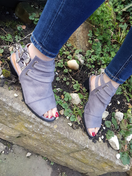 grey strap sandals
