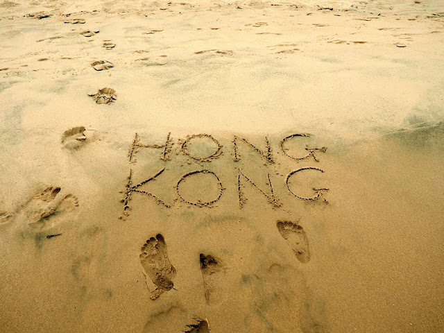 Hong Kong written in the sand on Cheung Sha beach, Lantau Island, Hong Kong