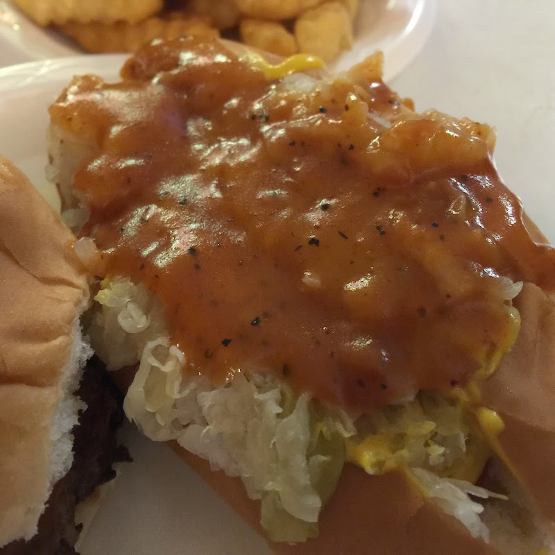 The hot dog includes chili sauce at Chris' Hot Dogs in Montgomery, Alabama