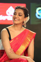 Kajal Aggarwal in Red Saree Sleeveless Black Blouse Choli at Santosham awards 2017 curtain raiser press meet 02.08.2017 079.JPG
