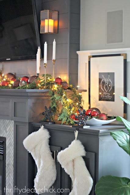 dark gray fireplace