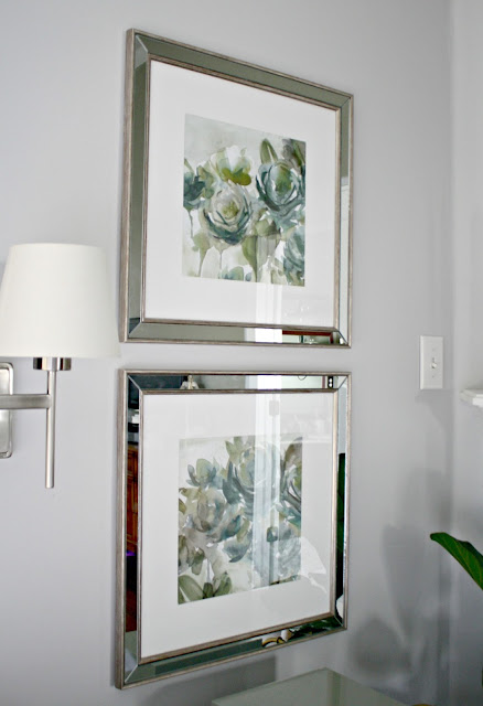 mirrored frames on Whitestone paint