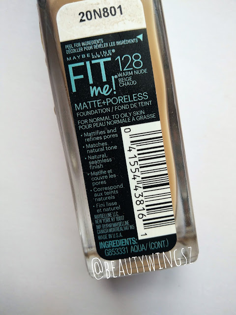 Maybelline Fit Me Matte+Poreless Foundation Review, Swatches: 128 Warm Nude