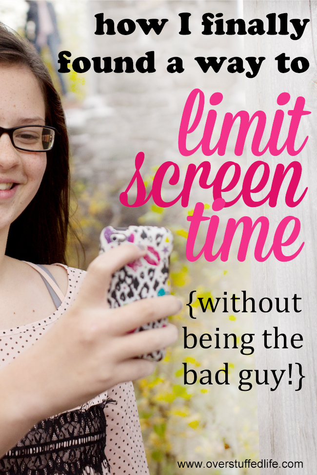 I am sick of being in trouble for making rules about screen time. I finally found a great way to limit the screens and not have to be the bad guy! Check it out! #overstuffedlife