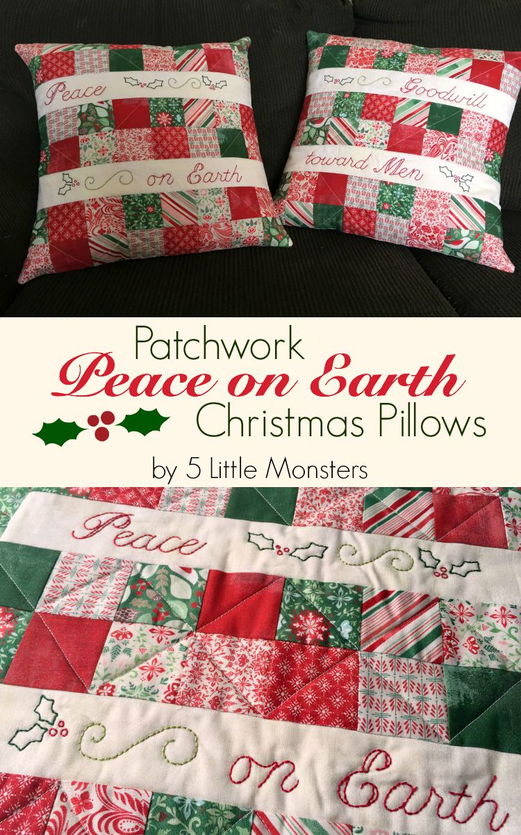 Patchwork peace on Earth Christmas pillows