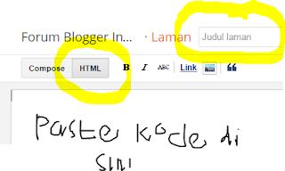 copas kode di mode html halaman baru