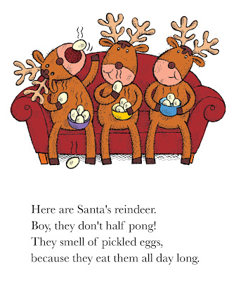 Santa's reindeer eat pickled eggs