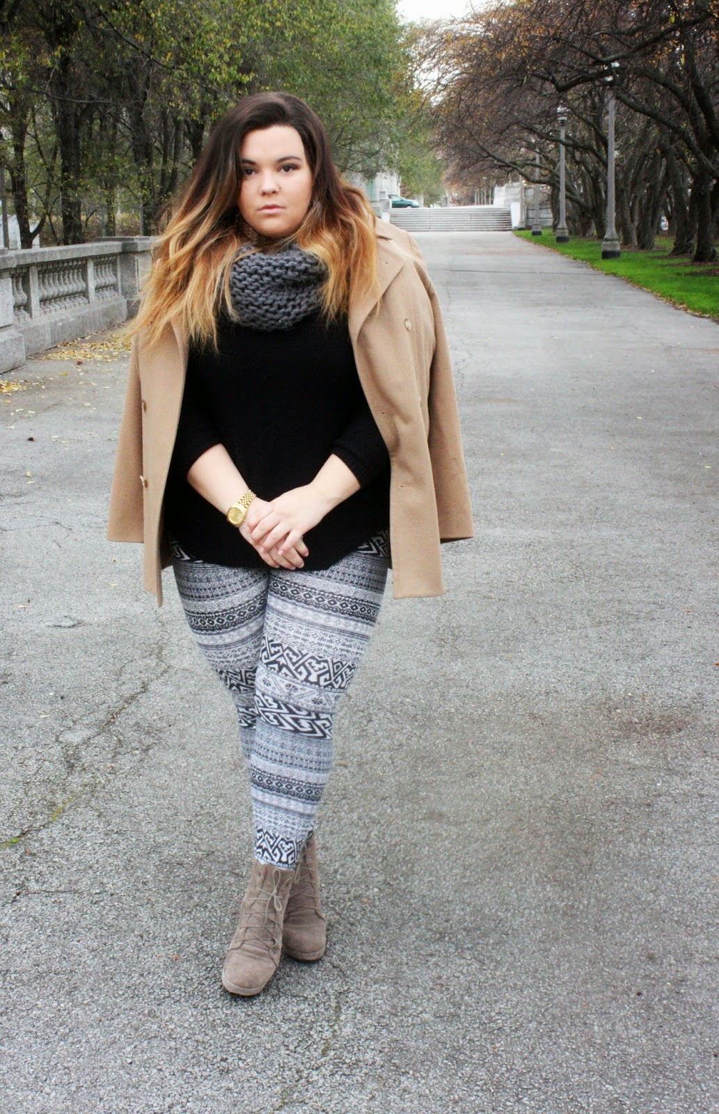 2014 winter trends, ankle boots, Chicago, gold watch, infinity scarf, kim kardashian tan coat, Natalie Craig, natalie in the city, pattern leggings, plus size fashion blogger, sweater cut-outs, tan coat,
