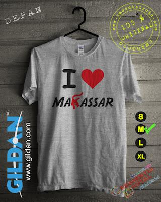 Baju Kaos DISTRO Desain I Love Makassar Warna Gray