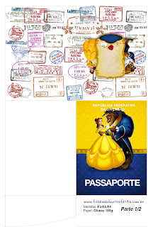 Imprimible con forma de Pasaporte de Fiesta de La Bella y la Bestia.