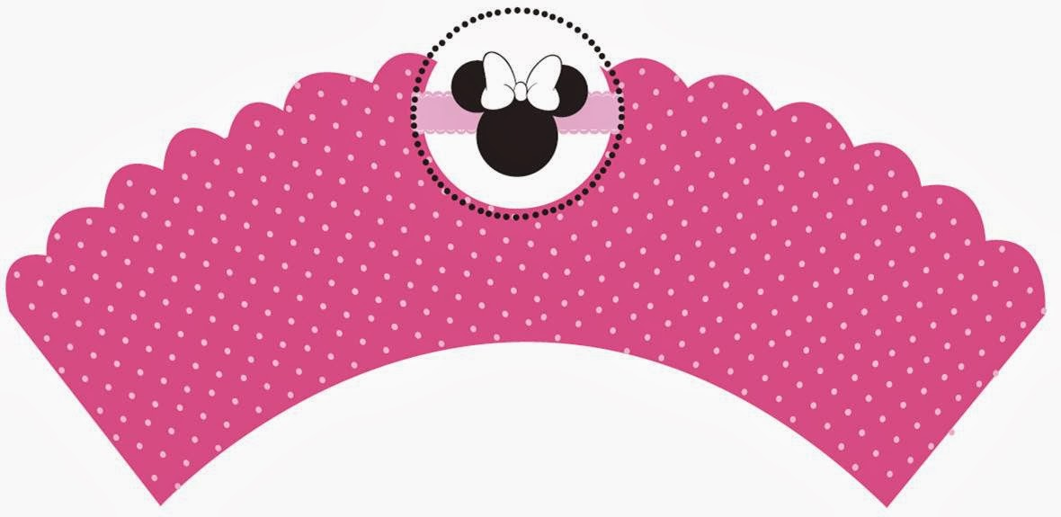 Free Printable Minnie Cupcake Wrappers in Pink.